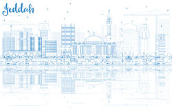Outline Jeddah Skyline with Blue Buildings and Reflections. Royalty Free Stock Images
