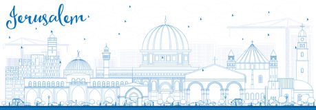 Outline Jerusalem Skyline with Blue Buildings. Vector Illustration. Business Travel and Tourism Concept with Historic Architecture. Image for Presentation Stock Images