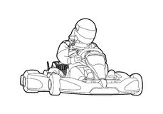 Karting. Outline karting on white background Royalty Free Stock Photos