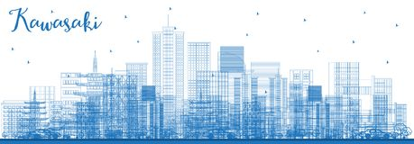 Outline Kawasaki Japan City Skyline with Blue Buildings royalty free illustration