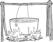 Outline of Kettle Over Campfire Stock Image