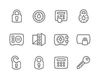 Outline Keys and Locks Icons. Simple set of keys and locks related vector icons for your design stock illustration
