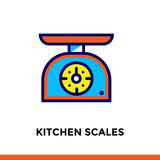 Outline KITCHEN SCALES icon. Vector pictogram suitable for print, website and presentation Royalty Free Stock Photo