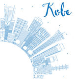 Outline Kobe Skyline with Blue Buildings and Copy Space. Royalty Free Stock Images