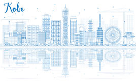 Outline Kobe Skyline with Blue Buildings and Reflections. Royalty Free Stock Images