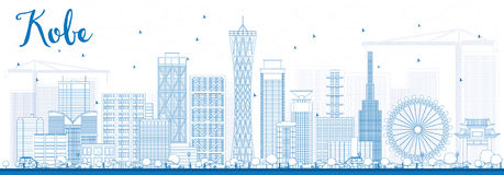 Outline Kobe Skyline with Blue Buildings. Royalty Free Stock Photography