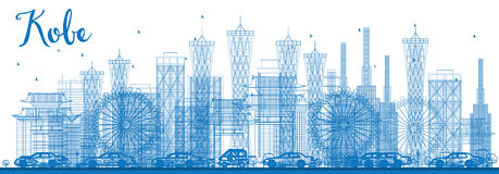 Outline Kobe Skyline with Blue Buildings. Stock Photography