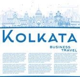 Outline Kolkata Skyline with Blue Landmarks and Copy Space. Stock Photos