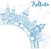 Outline Kolkata Skyline with Blue Landmarks and Copy Space. Stock Photography