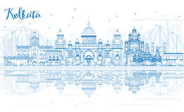 Outline Kolkata Skyline with Blue Landmarks and Reflections. Stock Images