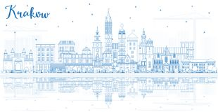 Outline Krakow Poland City Skyline with Blue Buildings and Reflections. Vector Illustration. Business Travel and Tourism Concept with Historic Architecture vector illustration