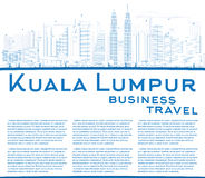 Outline Kuala Lumpur Skyline with Blue Buildings Copy Space. Stock Images
