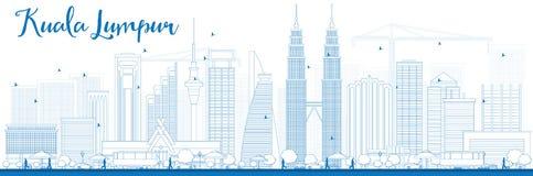 Outline Kuala Lumpur Skyline with Blue Buildings Stock Image