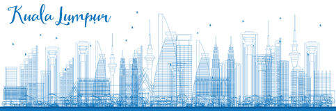 Outline Kuala Lumpur Skyline with Blue Buildings. Royalty Free Stock Image
