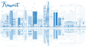 Outline Kuwait City Skyline with Blue Buildings and Reflections. Stock Images