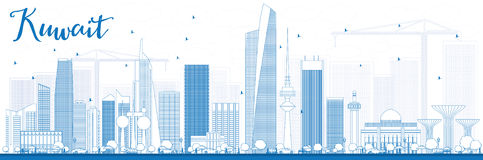 Outline Kuwait City Skyline with Blue Buildings. Stock Photo