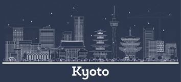 Outline Kyoto Japan City Skyline with White Buildings. Vector Illustration. Business Travel and Concept with Historic Architecture. Kyoto Cityscape with royalty free illustration