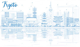 Outline Kyoto Skyline with Blue Landmarks and reflections. Vector illustration. Business Travel or Tourism Concept with Modern and Historic Buildings. Image royalty free illustration