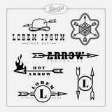 Outline label set with arrow. Templates for badges, labels, tags, stickers, logo in outline style with arrow. Set 4. Vector illustration Royalty Free Stock Photo