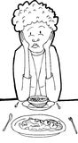 Outline of Lady Eating Lunch Stock Photo