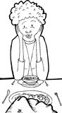 Outline of Lady Eating with a Rock Stock Photography