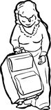 Outline of Lady Lifting Suitcase Royalty Free Stock Photos