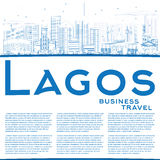 Outline Lagos Skyline with Blue Buildings and Copy Space. Royalty Free Stock Images