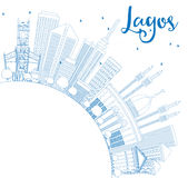 Outline Lagos Skyline with Blue Buildings and Copy Space. Stock Images