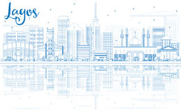 Outline Lagos Skyline with Blue Buildings and Reflections. Royalty Free Stock Photo