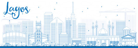 Outline Lagos Skyline with Blue Buildings. Royalty Free Stock Photography