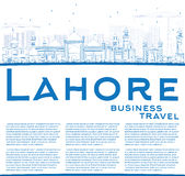 Outline Lahore Skyline with Blue Landmarks and Copy Space. Royalty Free Stock Images