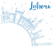 Outline Lahore Skyline with Blue Landmarks and Copy Space. Stock Photography