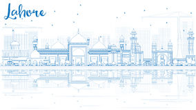 Outline Lahore Skyline with Blue Landmarks and Reflections. Royalty Free Stock Images