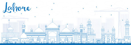 Outline Lahore Skyline with Blue Landmarks. Royalty Free Stock Photography