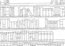 Outline of Large Shelf with Books Royalty Free Stock Photo