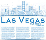 Outline Las Vegas Skyline with Blue Buildings and Copy Space. Stock Photos