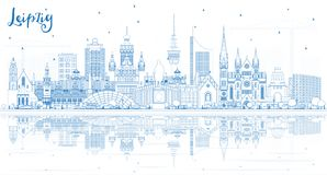 Outline Leipzig Germany City Skyline with Blue Buildings and Reflections. Vector Illustration. Business Travel and Tourism Concept with Historic Architecture vector illustration