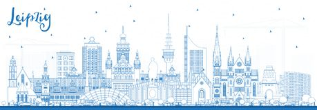Outline Leipzig Germany City Skyline with Blue Buildings. Vector Illustration. Business Travel and Tourism Concept with Historic Architecture. Leipzig royalty free illustration
