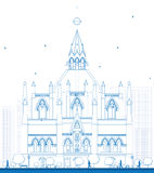 Outline Library of Parliament, Ottawa, Ontario, Canada. Vector illustration. Business Travel and Tourism Concept with Historic Building. Image for Presentation Royalty Free Stock Photo