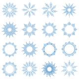 Outline lights sun. Set of linear round figures. As the rays of the sun. Blue radial objects on the white background in vector. Decoration borders for text Royalty Free Stock Image