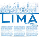 Outline Lima Skyline with Blue Buildings and Copy Space. Stock Image