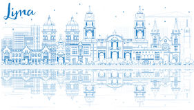 Outline Lima Skyline with Blue Buildings and Reflections. Royalty Free Stock Photography