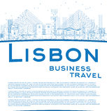 Outline Lisbon city skyline with blue buildings and copy space Stock Image