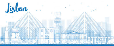 Outline Lisbon city skyline with blue buildings Royalty Free Stock Images
