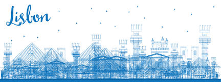 Outline Lisbon city skyline with blue buildings. Royalty Free Stock Images