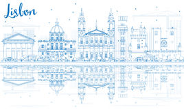 Outline Lisbon Skyline with Blue Buildings and Reflections. Royalty Free Stock Photography