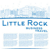 Outline Little Rock Skyline with Blue Building and copy space Stock Photos
