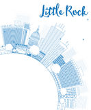 Outline Little Rock Skyline with Blue Building and copy space Stock Photography