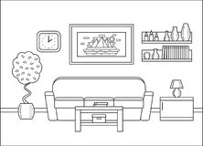 Outline living room interior in art flat design. Vector illustra Royalty Free Stock Photography