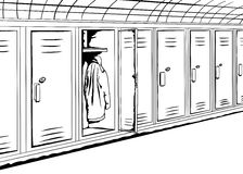 Outline Lockers with Coat Stock Photography